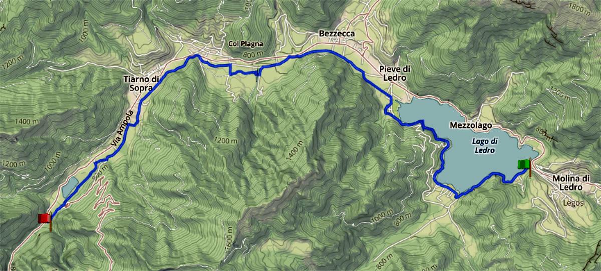 Percorso pista ciclabile della Valle del Ledro