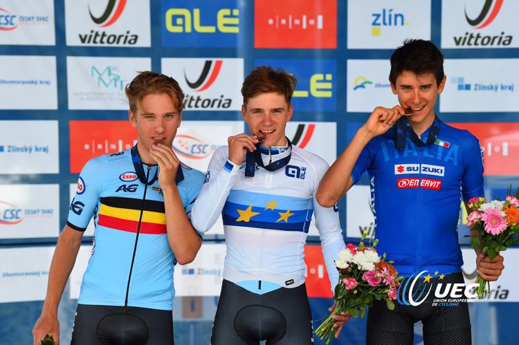 Il podio della gara a cronometro Élite uomini