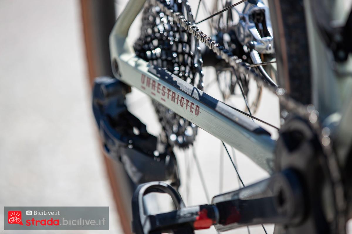 Il gruppo trasmissione montato sulla bici BMC UnReStricted URS 2020