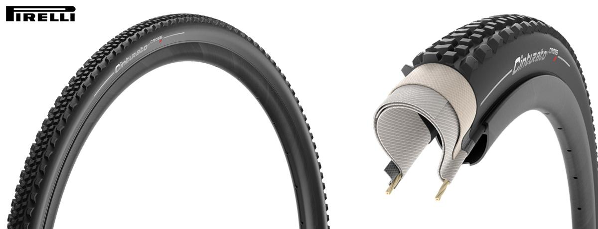 Il pneumatico Pirelli Cinturato Cross con battistrada e sezione.