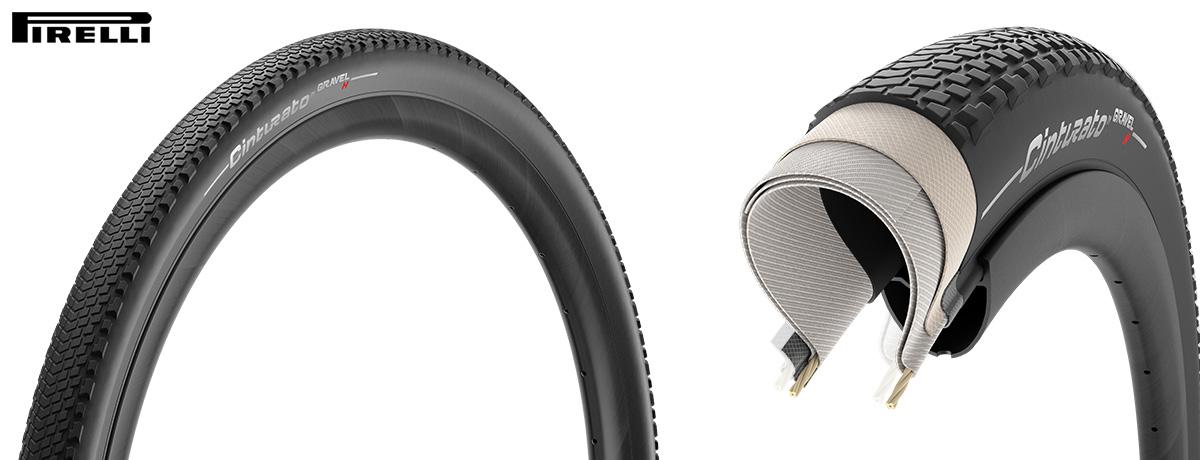 La gomma per bici Pirelli Cinturato Gravel con battistrada e sezione