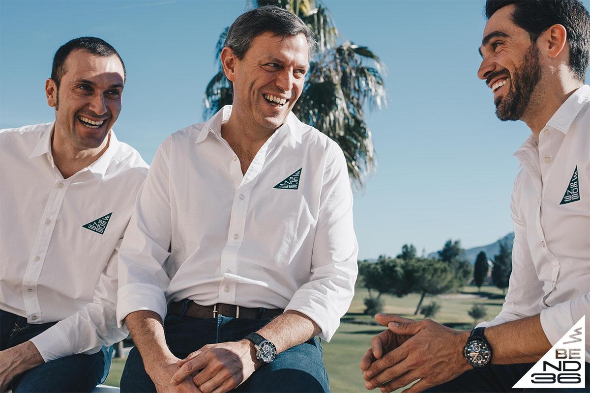 I fondatori di Bend 36 Ivan Basso, Alberto Contador e Alessandro Rombelli