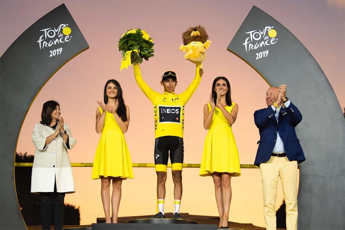 Il vincitore del Tour de France 2019 Egan Bernal presente alla presentazione dell'evento