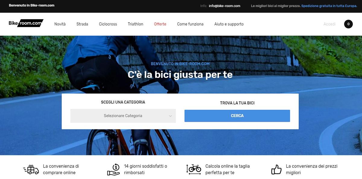 screenshot del sito bike room