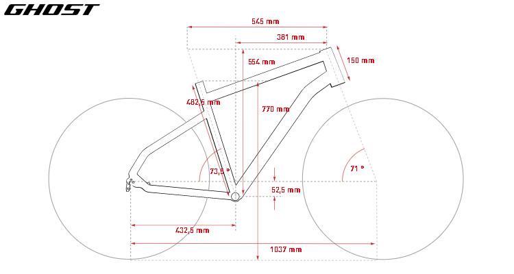 La tabella con le geometrie della bici da endurance/gravel Ghost Endless Road Rage 8.7 LC U in taglia M