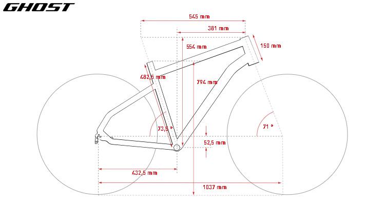 Le geometrie della bici da gravel Ghost Fire Road Rage 6.9 LC U in taglia M