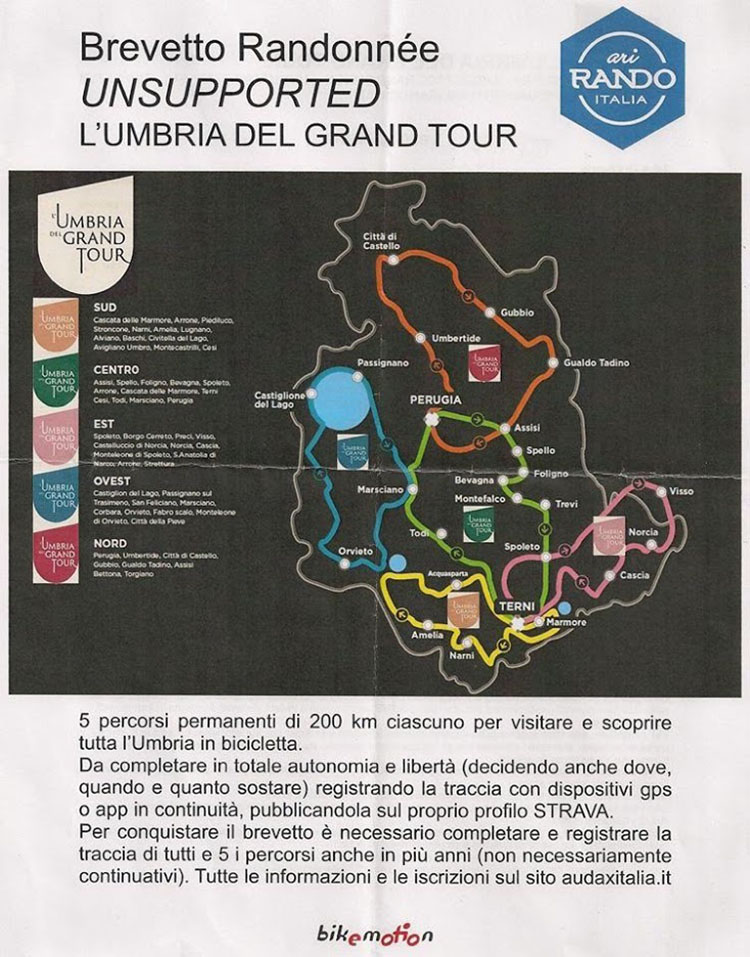 Brevetto Randonnee Unsupported L'Umbria del Gran Tour
