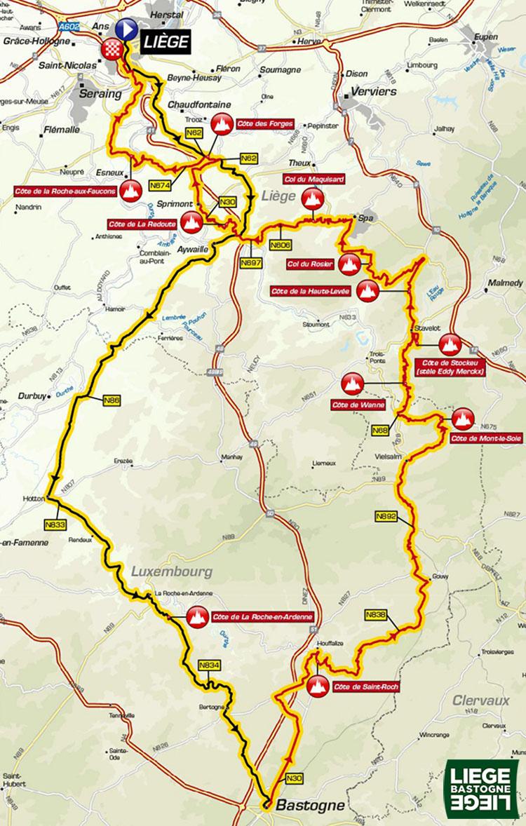 Una foto del percorso Liegi-Bastogne-Liegi 2019