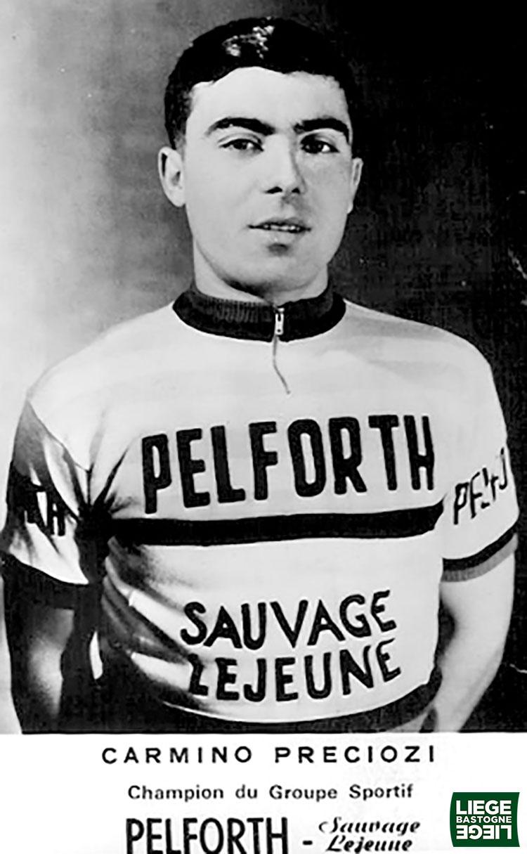 Una foto con il primo vincitore italiano Carmine Preziosi nella gara Liegi-Bastogne-Liegi nel 1965