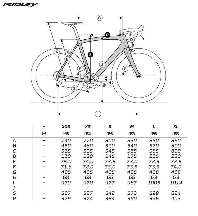 La tabella con le geometrie per le diverse taglie della bicicletta Ridley Helium SLX Disc 2020