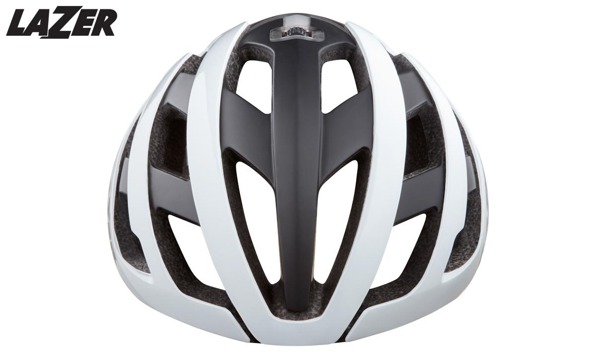 Il casco per ciclismo da corsa Lazer Genesis visto frontalmente