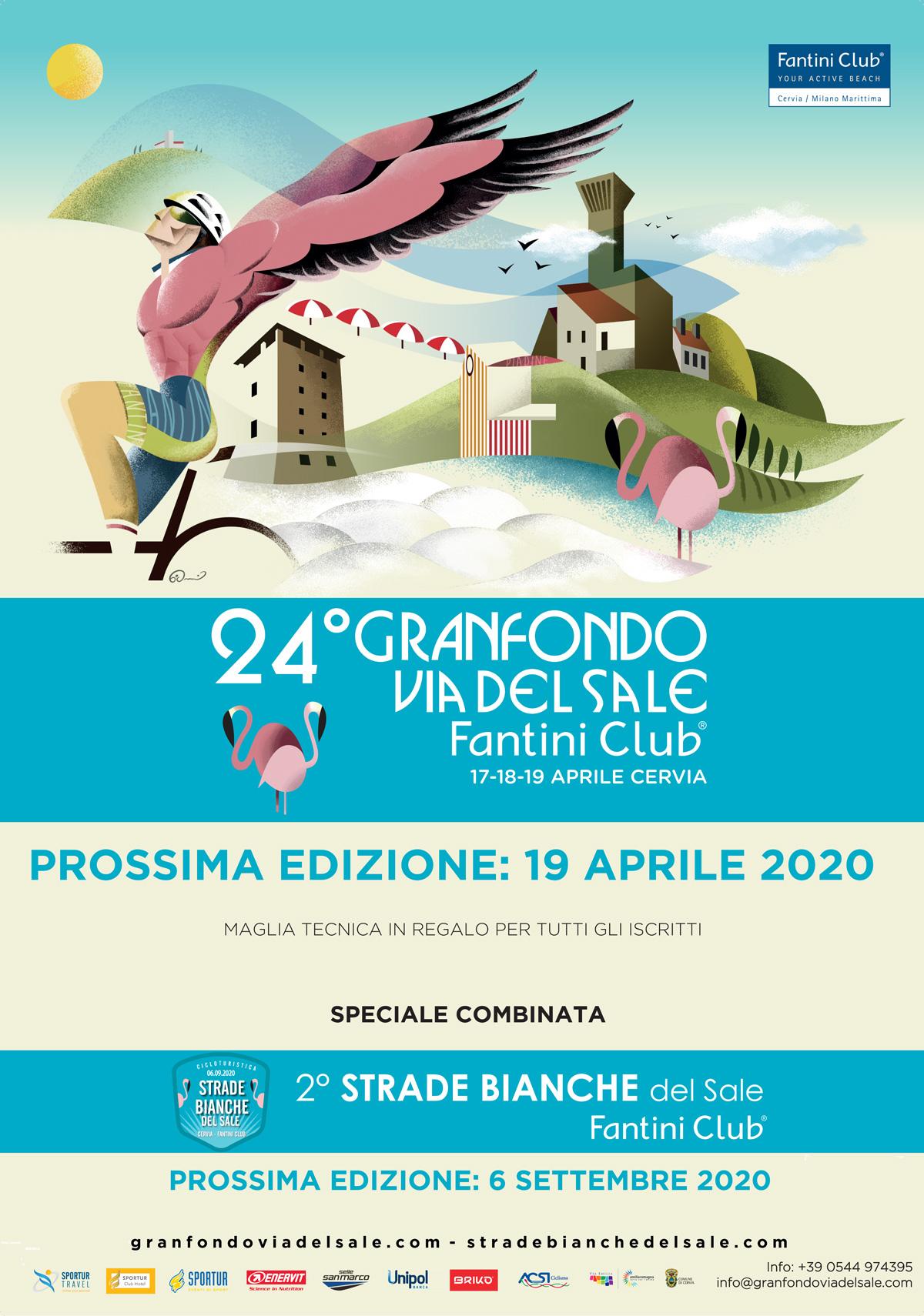 La locandina ufficiale della Granfondo Via del Sale Fantini Club 2020 a Cervia
