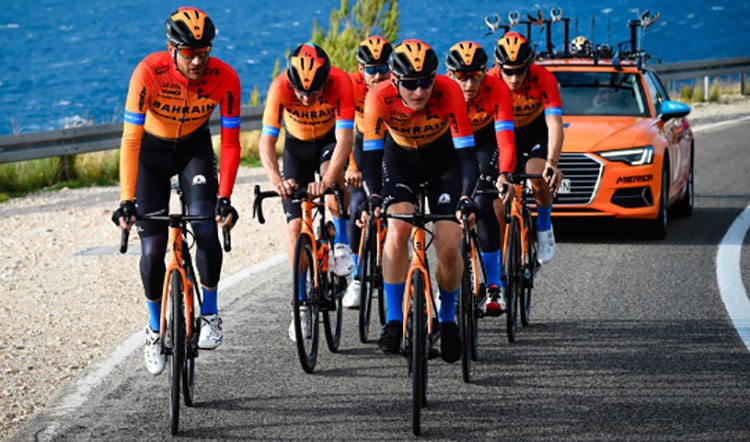 La squadra Bahrain-Mclaren all'UCI World Tour 2020