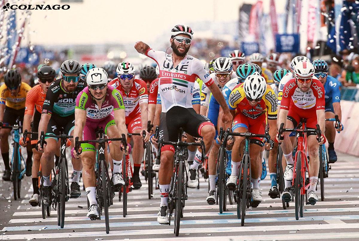 Lo sprinter Fernando Gaviria del UAE Team Emirates vincitore di una gara in volata con bici Colnago 2020