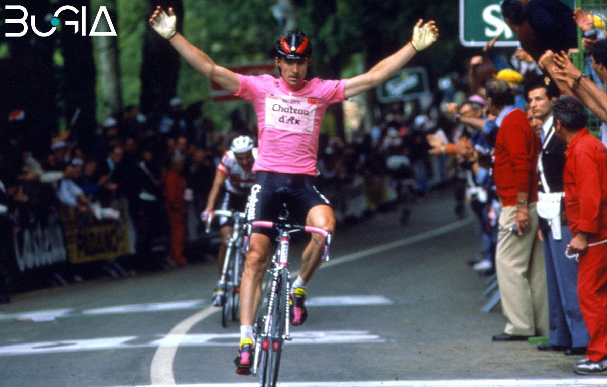 La maglia rosa al Giro d'Italia 1990 a Gianni Bugno