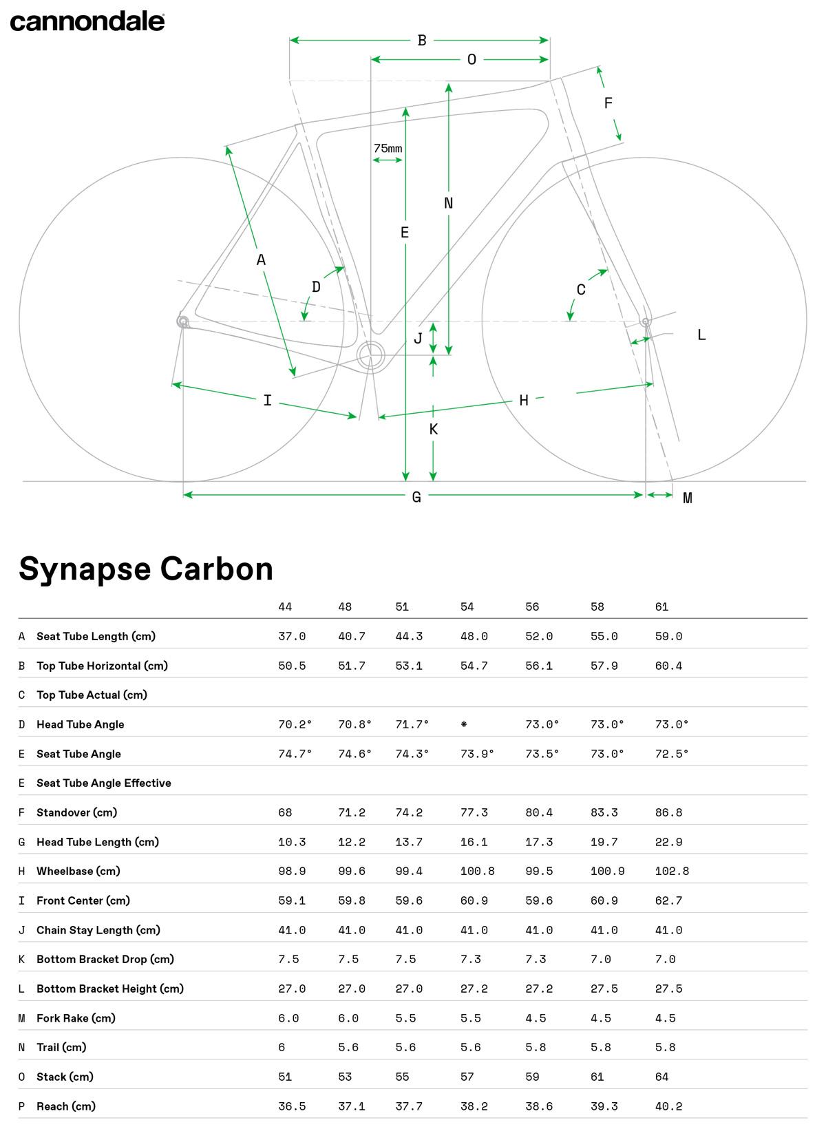 La tabella con le misure e le geometrie della bicicletta Cannondale Synapse Carbon Hi-MOD Disc Ultegra Di2 2020