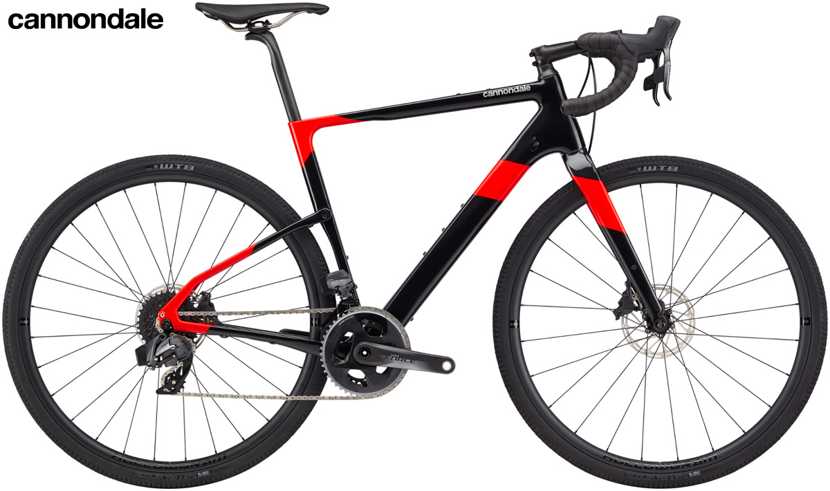 Una bicicletta da gravel Cannondale Topstone Carbon Force eTap AXS 2020