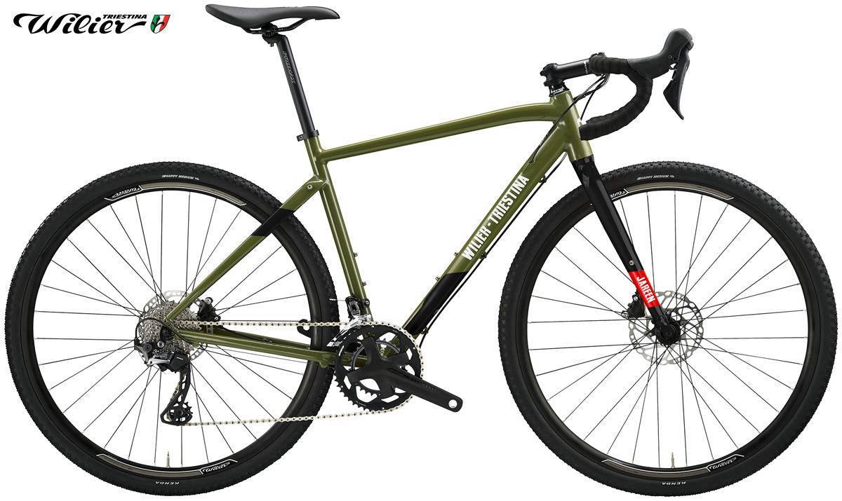 Una gravel bike Wilier Triestina Jareen 2020 con trasmissione Shimano GRX 2×10 nella colorazione verde/nera