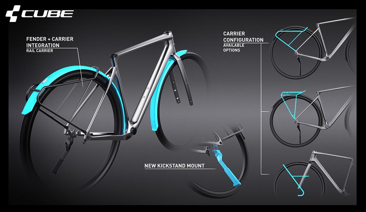Dettaglio dei parafanghi delle nuove bici da strada Cube Nuroad 2021