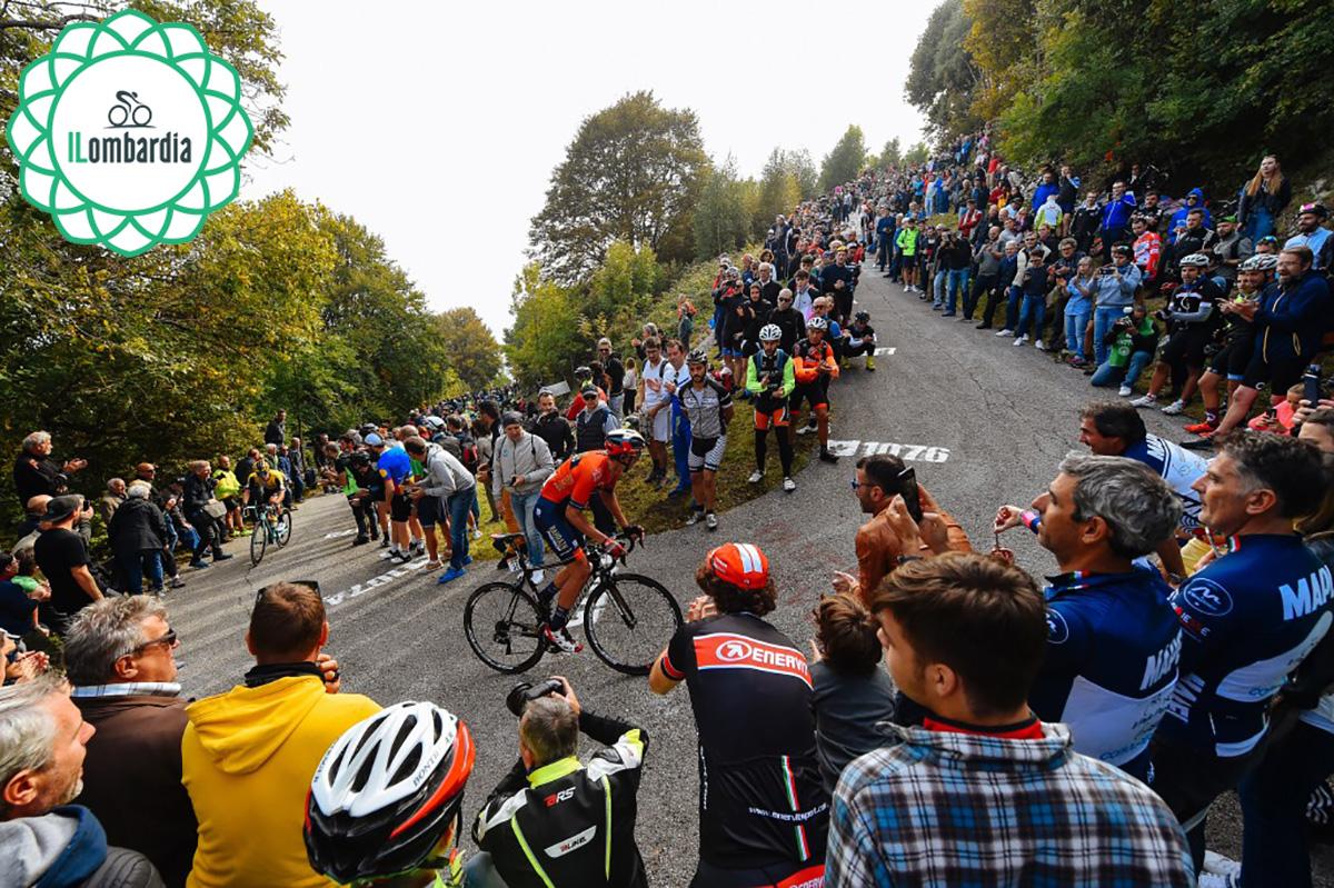Vincenzo Nibali che percorre una salita durante lo scorso Giro di Lombardia