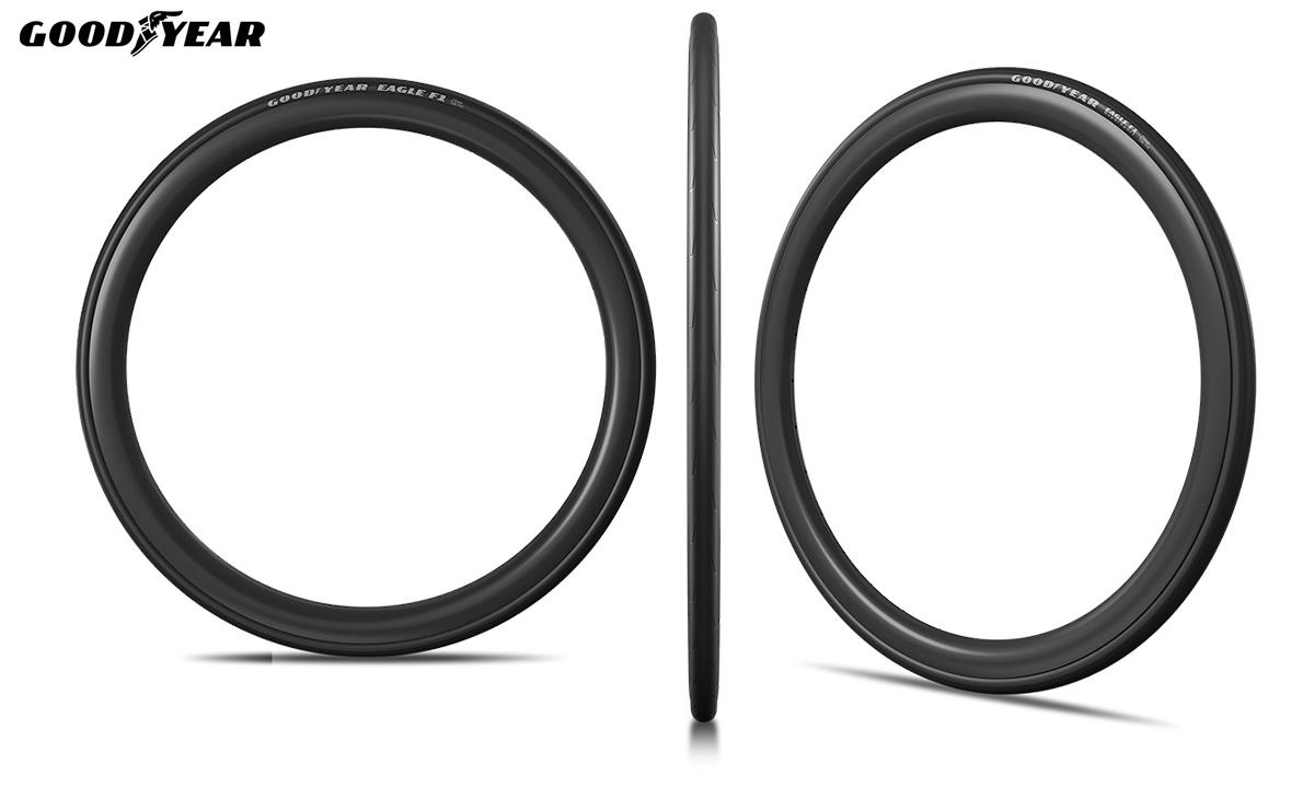 Tre viste distinte del nuovo pneumatico per bici da strada Goodyear F1 2021