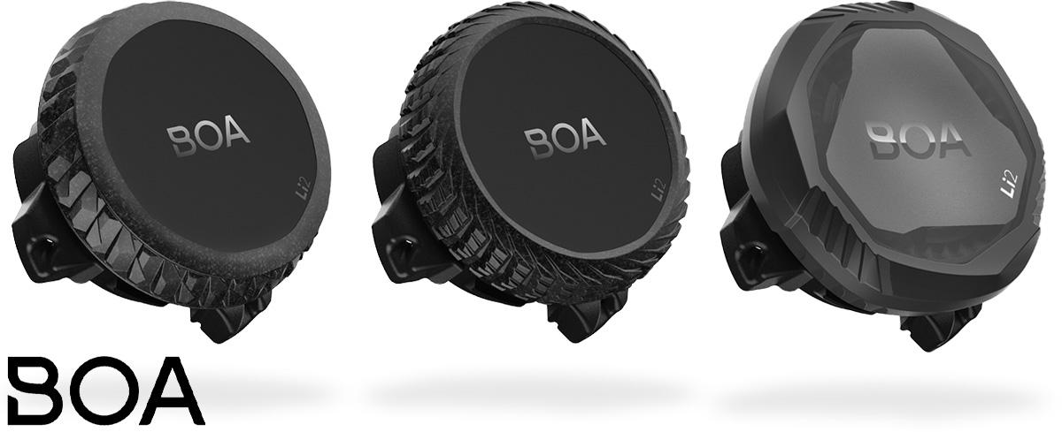 Le tre manopole disponibili per la nuova piattaforma per la chiusura rapida delle scarpe per bici BOA Li2