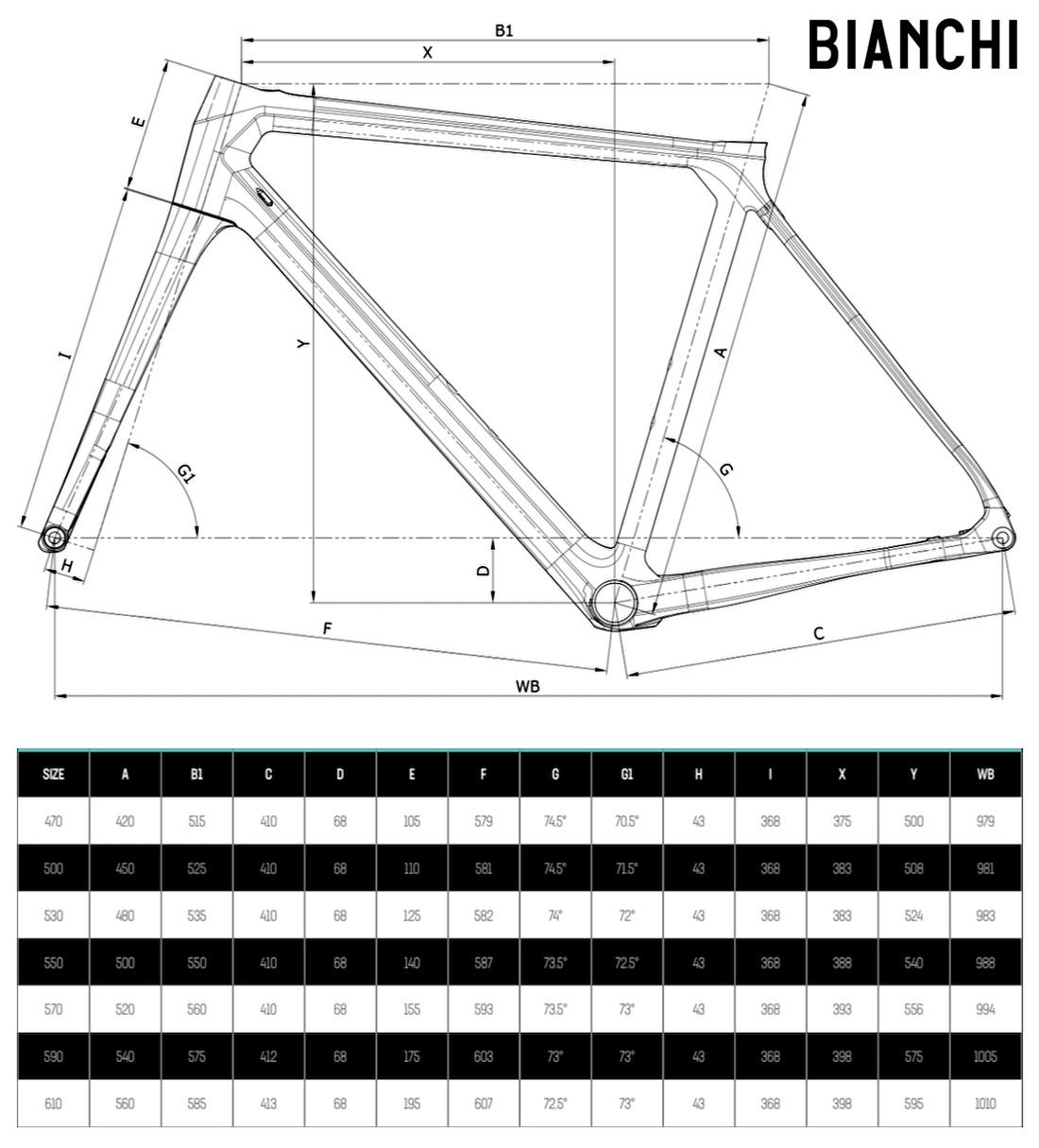 La tabella con le misure e le geometrie della bici Bianchi Specialissima Disc 2021