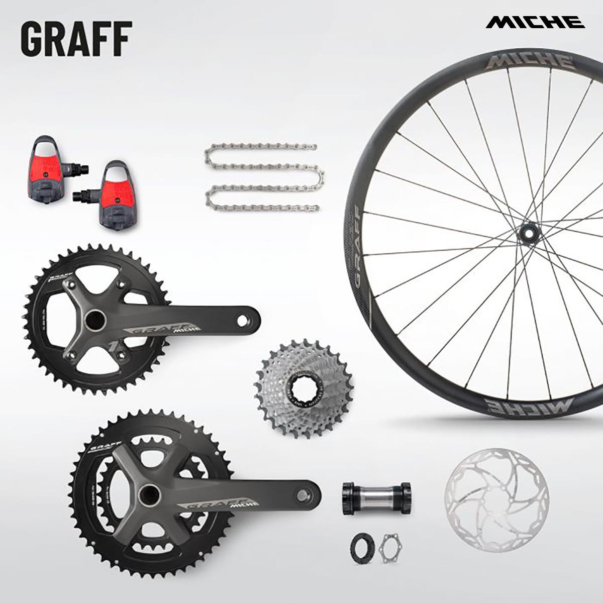 Insieme dei vari componenti della linea Graff, tra cui spicca la ruota Graff SP