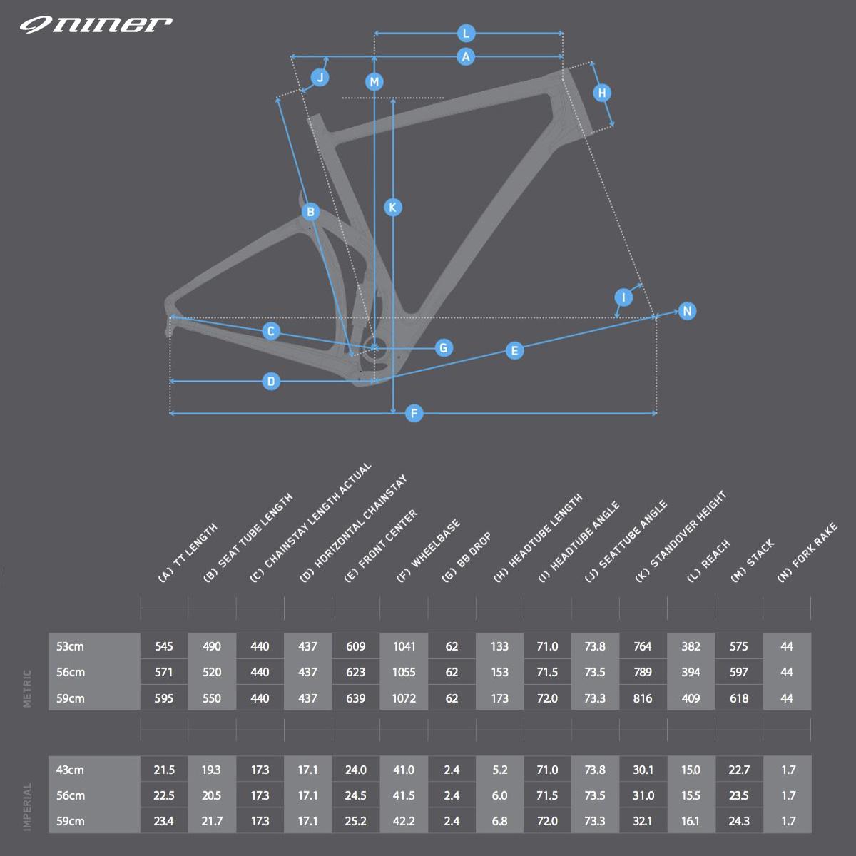 La tabella con le misure e le geometrie della bici gravel full suspended Niner MCR 9 RDO 2021