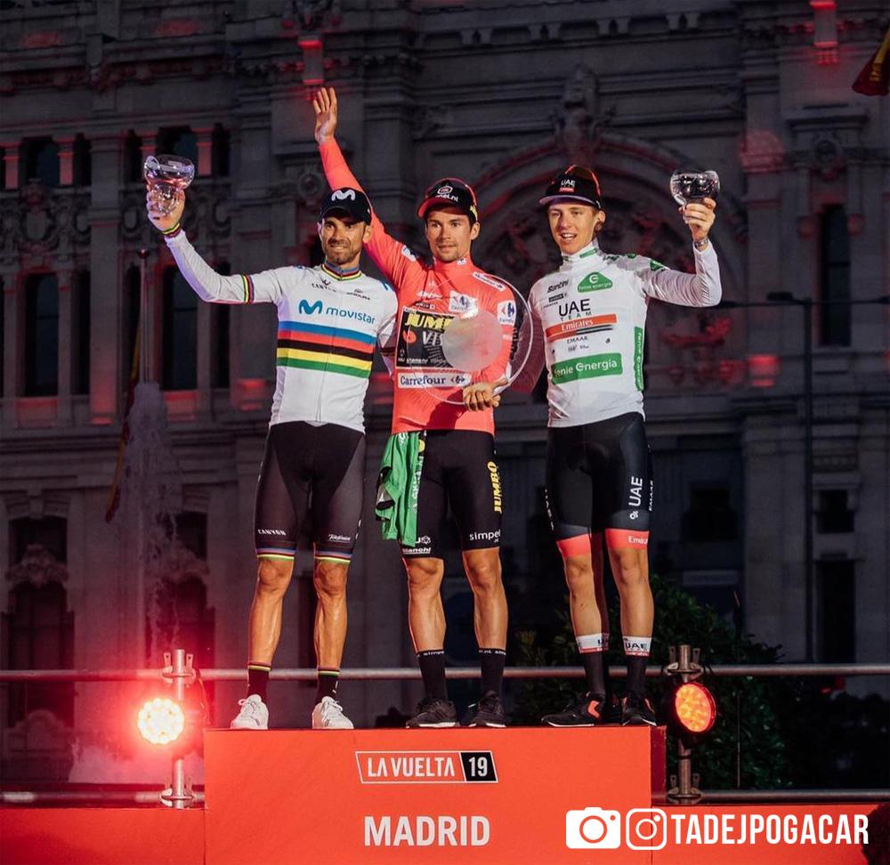 Tadej Pogačar sul podio della Vuelta 2019
