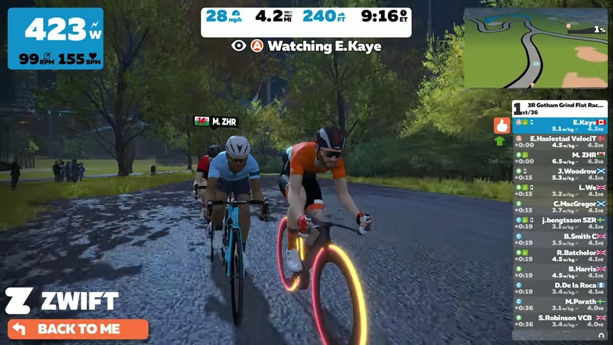 Una schermata dal simulatore dell'app Zwift