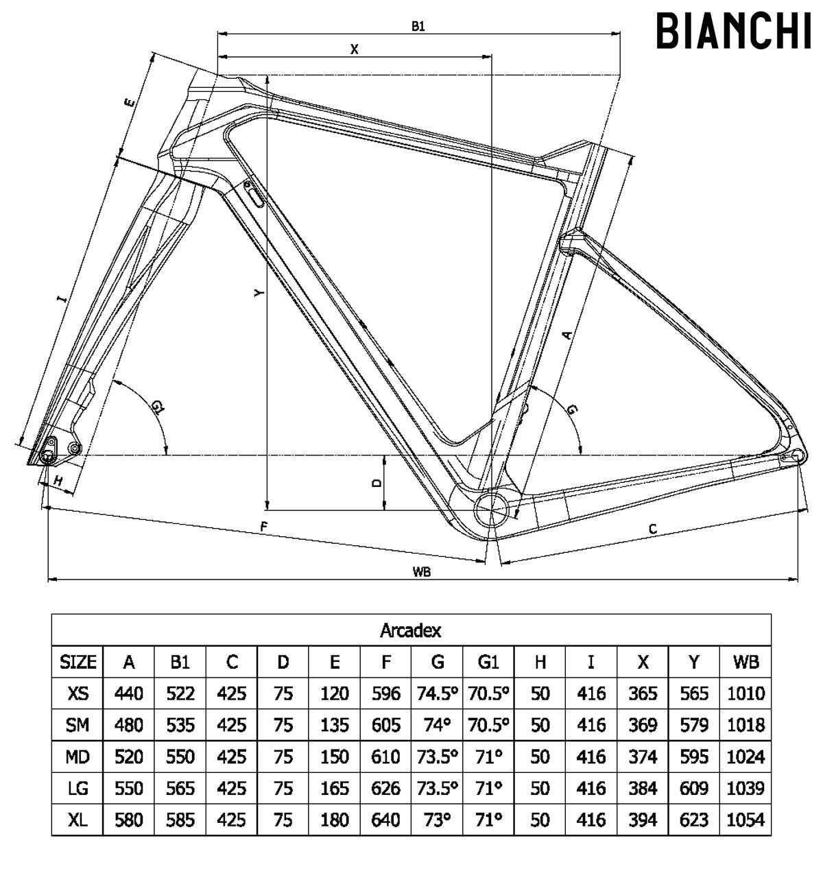 La tabella con le misure e le geometrie della bici gravel Bianchi Arcadex 2021