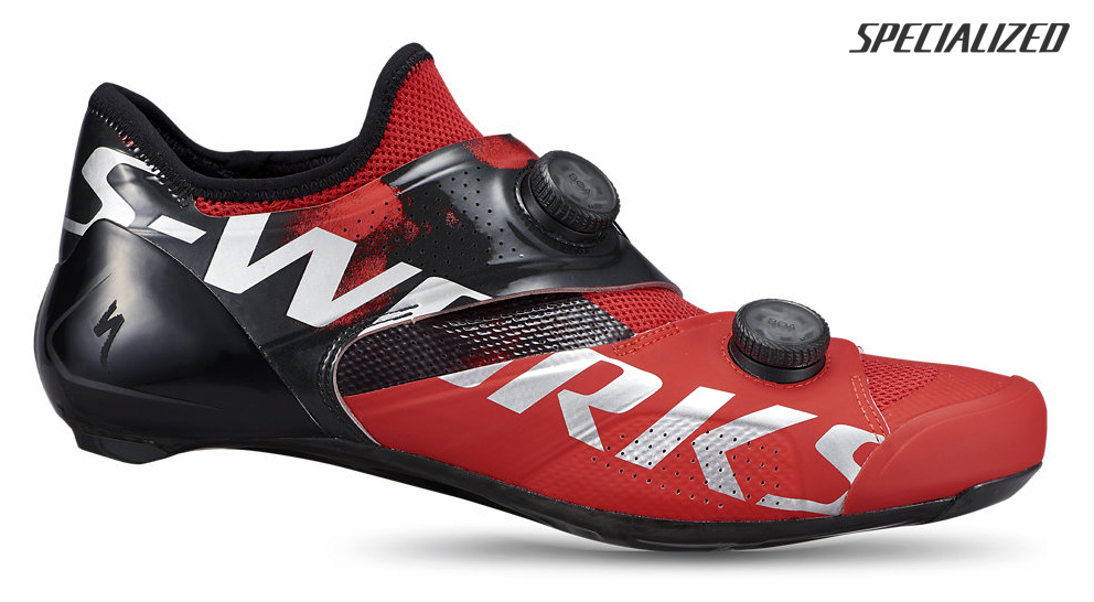 Scarpa per bici da corsa Specialized S-works Ares 2021 nel colore rosso-nero