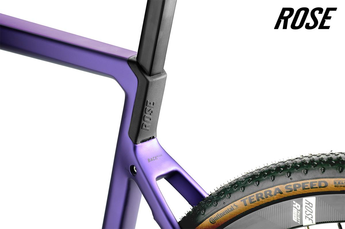 Dettaglio della parte posteriore e del copertone della nuova bici gravel Rose Backroad Classified 2021