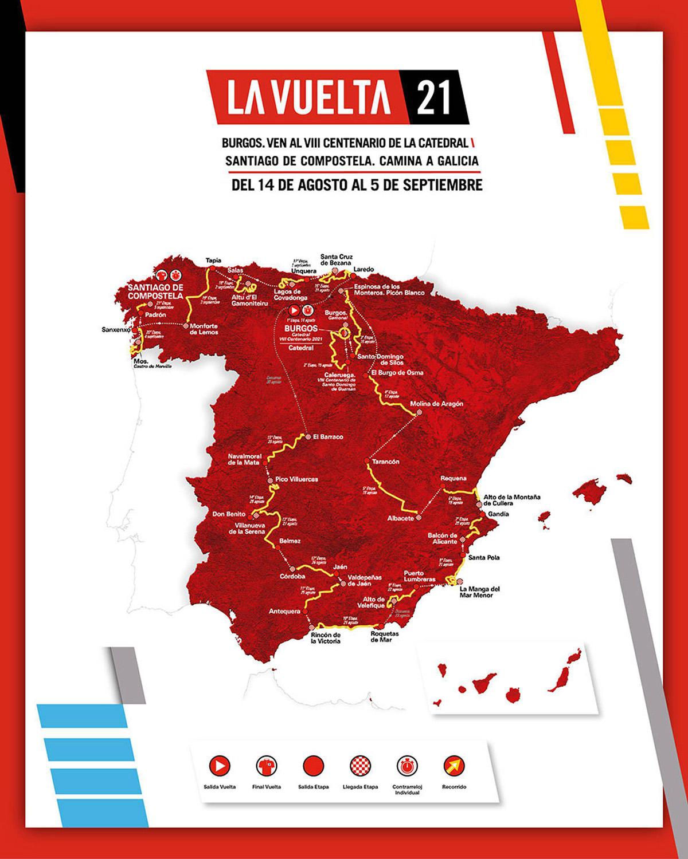 La mappa del percorso della Vuelta di Spagna 2021