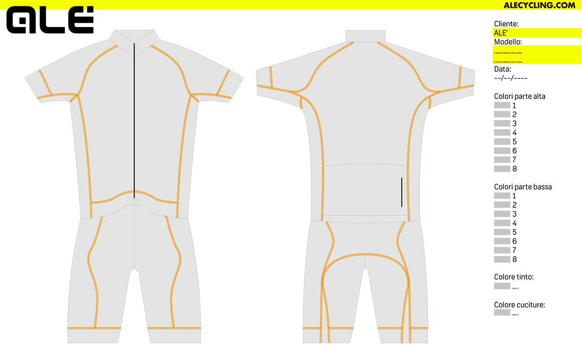 Il file per personalizzare le maglie tecniche Alècycling Pro Racing Research 2021