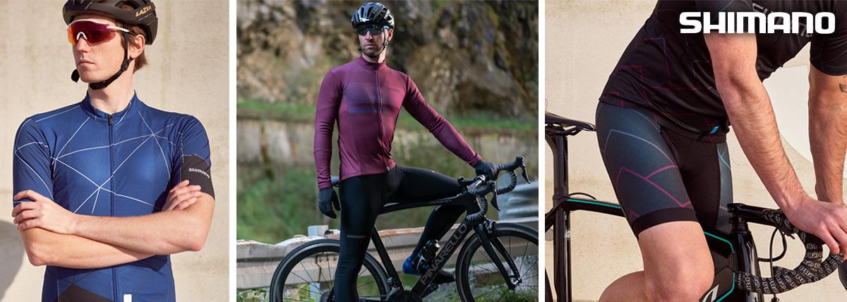 Dei ciclisti indossano i capi d'abbigliamento delle nuove linee Shimano Breakaway, Aerolite e Team 2021
