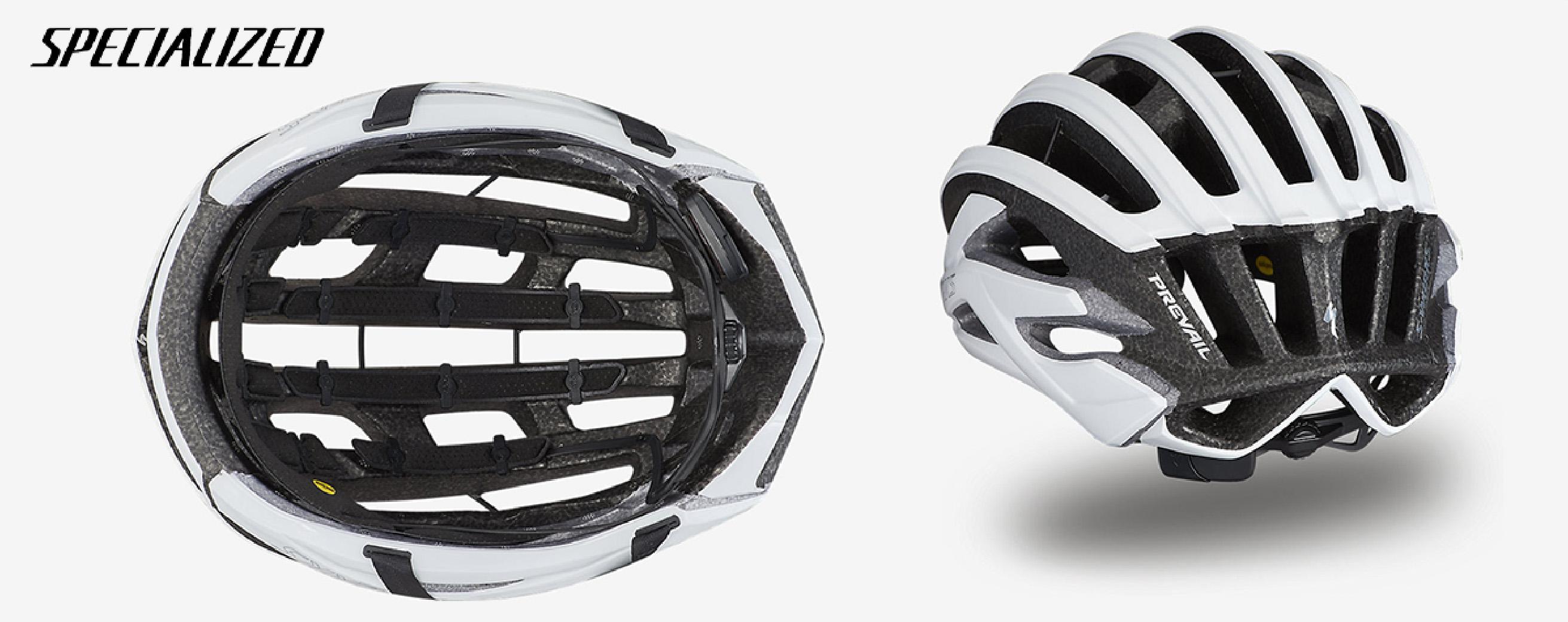 Il nuovo casco per bici da corsa Specialized S-Works Prevail II Vent 2021 visto dal basso e dal retro
