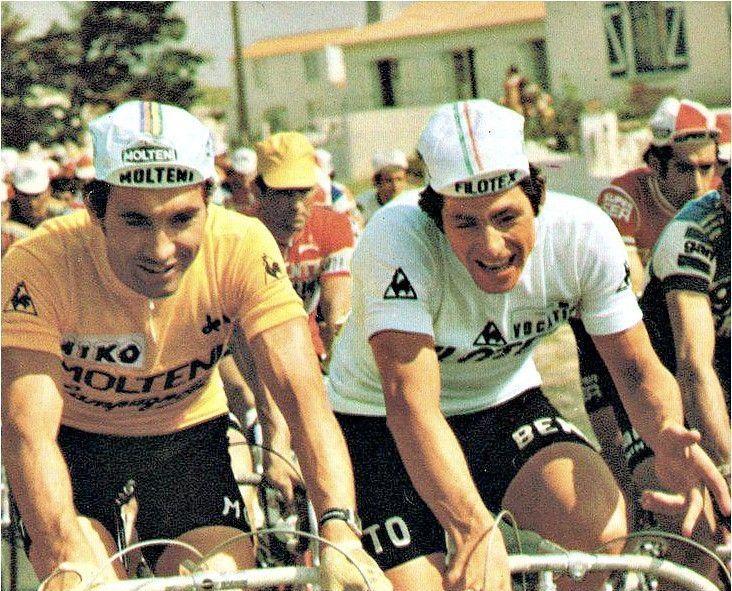 Francesco Moser nel 1975 affianca Eddy Merckx