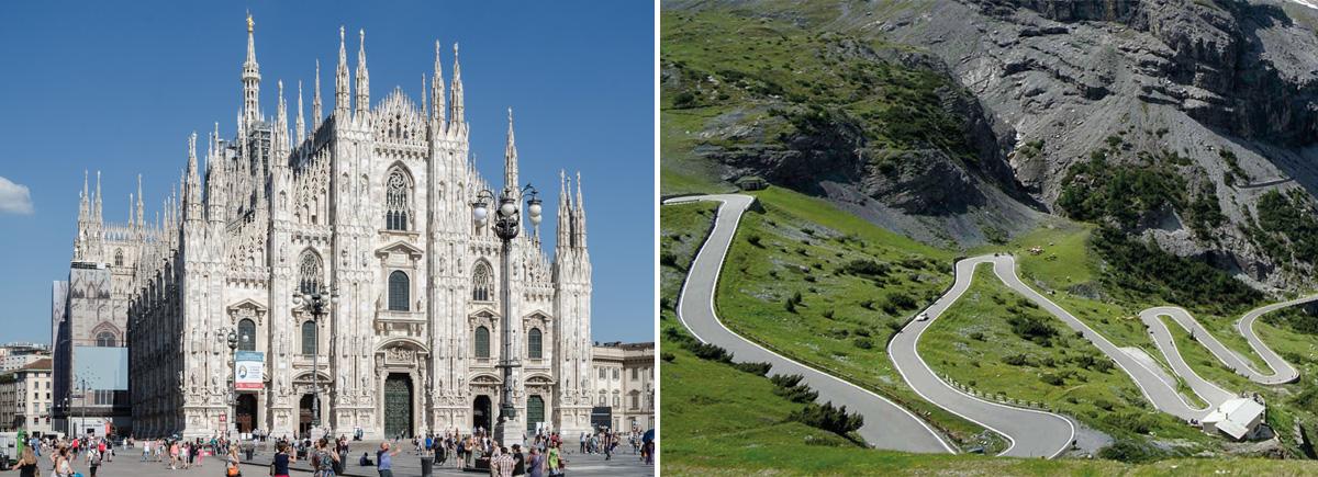 Foto del punto di partenza e di arrivo della nuova corsa ciclistica Duomo-Stelvio 2021