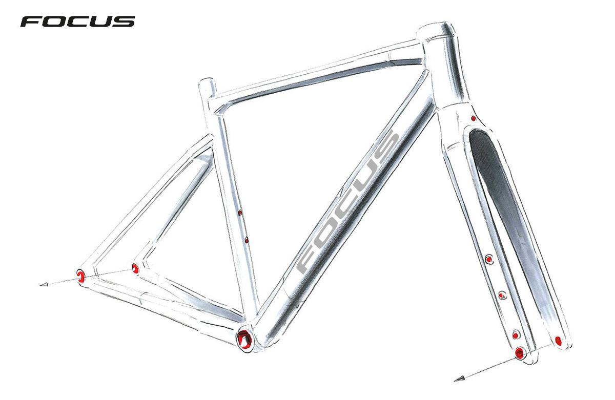 Un'illustrazione del telaio della nuova bici da gravel Focus Atlas 2021
