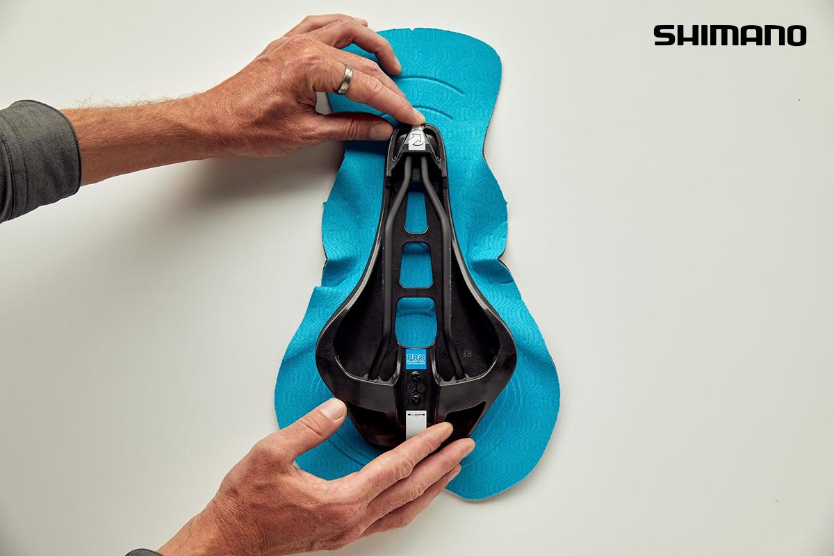 La sagoma del tessuto utilizzato per la nuova sella progettata sulla sella PRO Stealth