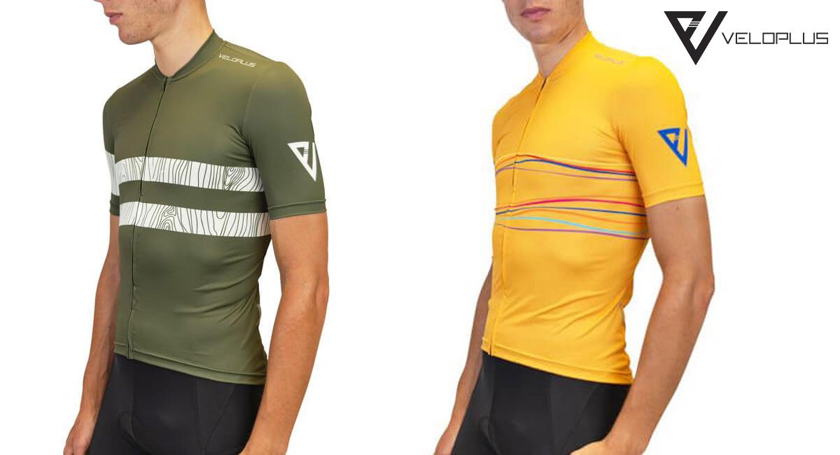 Il completo per ciclisti gravel Veloplus Appalachi in colorazione verde e gialla