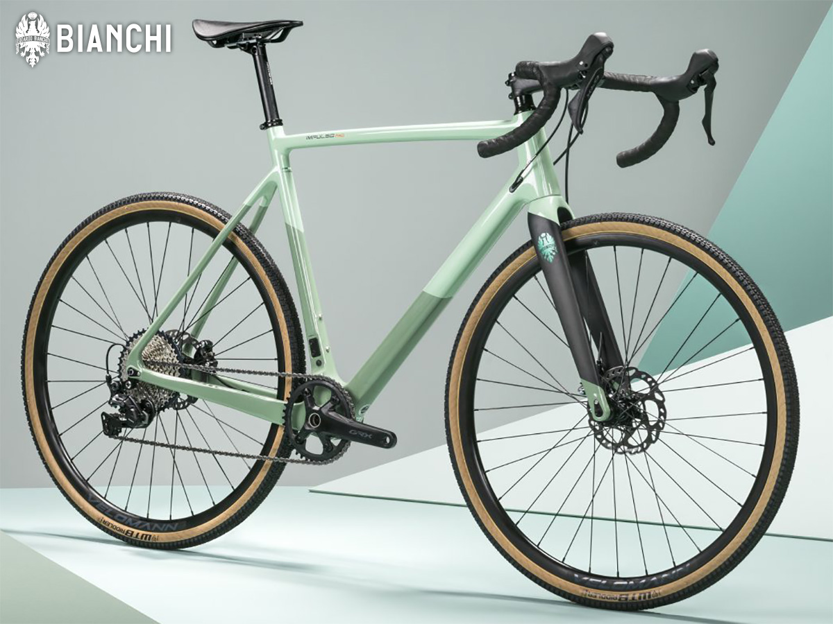 La nuova bicicletta da gravel Bianchi Impulso Pro 2022 fotografata in studio